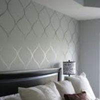 high gloss paint design over flat paint walls (same color ...