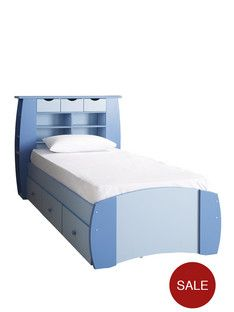 Kide Orlando Single Bed With Storage Shelves And