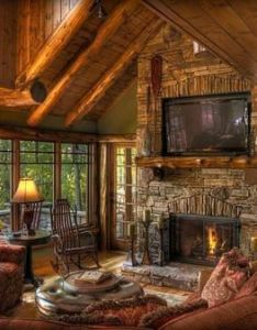 Traditional family room log cabin decorating design pictures remodel decor and ideas page also warm  cosy shelter home pinterest living rooms rh