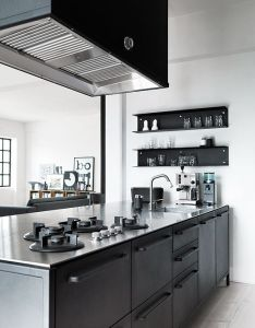 Minimal black grey kitchen floral print dress shabby chic home interior decor and ts aquarium in decorating office design also ain pinterest gray kitchens rh