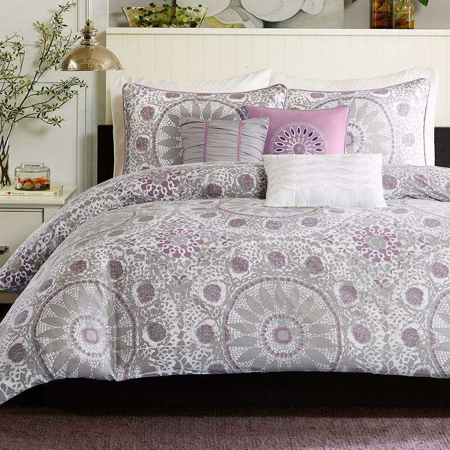 Purple and Gray (Silver) Duvet Set