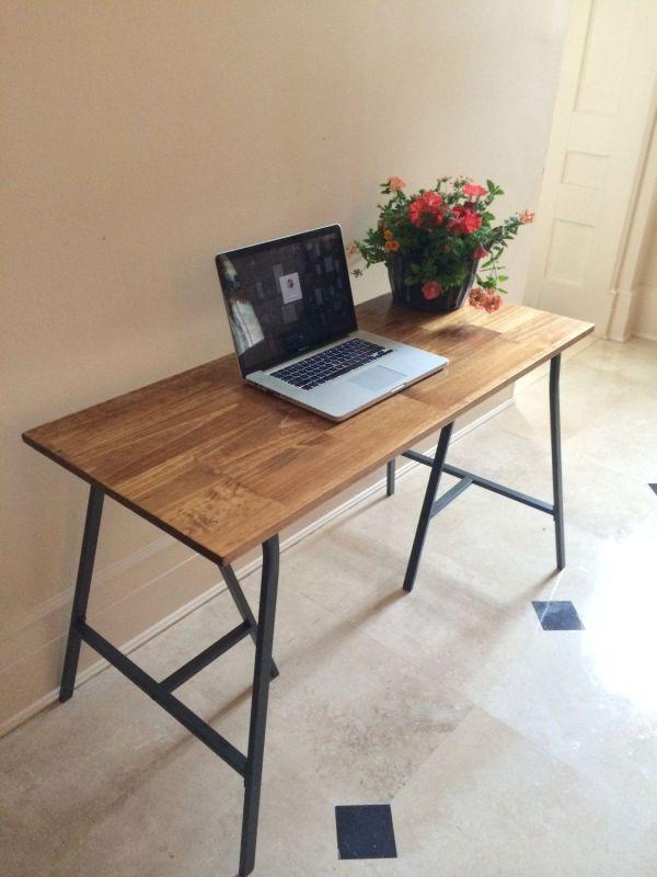 Rustic Desk Table Vanity Wood Mock