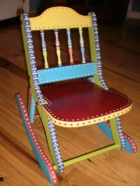 Hand Painted Folk Art Rocking Chair-Whimsical Childs Chair ...