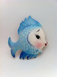 Vintage LEFTON Bowtie Kissing Fish Ceramic Bath / Bedroom ...