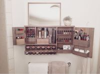 Black - Wall Mounted/Counter top Makeup Organizer Vanity ...