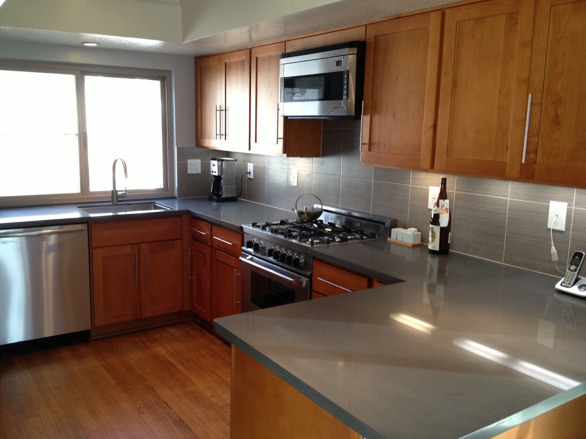 maple countertops kitchen antique white island in belmont ca shaker cabinets cliff grey