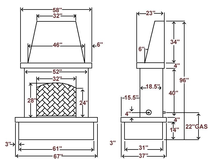 brick fireplace dimensions