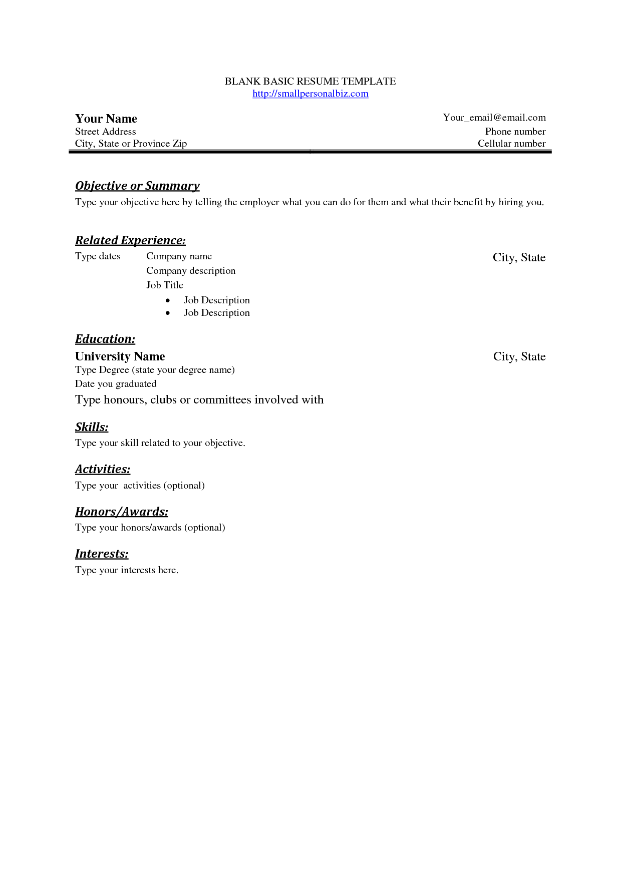 Sample Of Simple Resume Format Free Basic Blank Resume Template Free Basic Sample