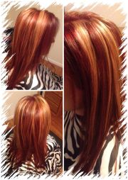 over red with chunky blonde