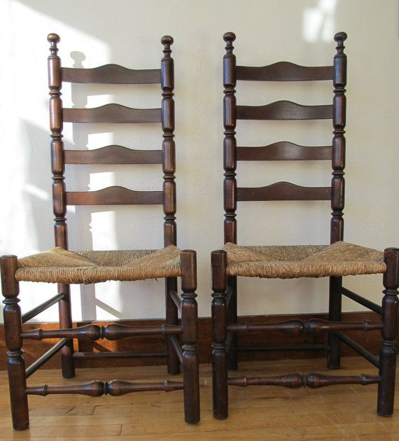 Pair of Antique Ladder Back Chairs  Antique ladder