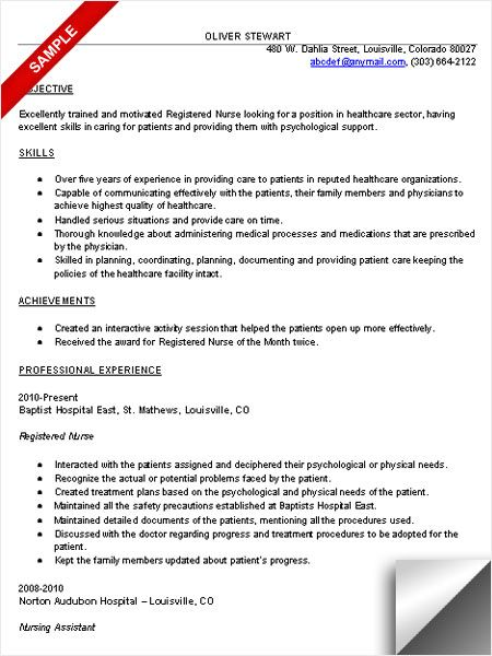 RN Resume Sample Resume Examples Pinterest Discover