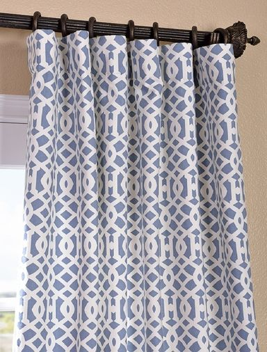 Nairobi Denim Printed Cotton Curtain Back Tab And Hook Belt