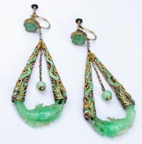 Antique Chinese Silver Enamel Carved Jade Earrings ...