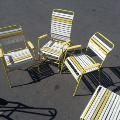 Patio Chair Repair Vinyl Strap Dining Room Set With Swivel Chairs Vintage 60s 70s Metal Lawn Lounge