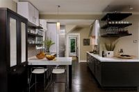 dark kitchen cabinets and dark wood floors