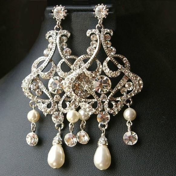 Chandelier Wedding Bridal Earrings Vintage Style Statement Crystal Alessandra I Personally Wouldn T Wear Them But