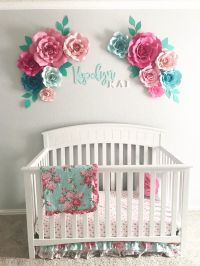 Aqua Floral Nursery for Baby Girl | Floral nursery, Paper ...