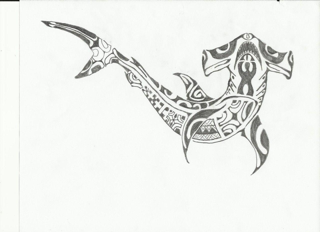 Hawaiian Tattoo Shark Pencil Drawing Tribal