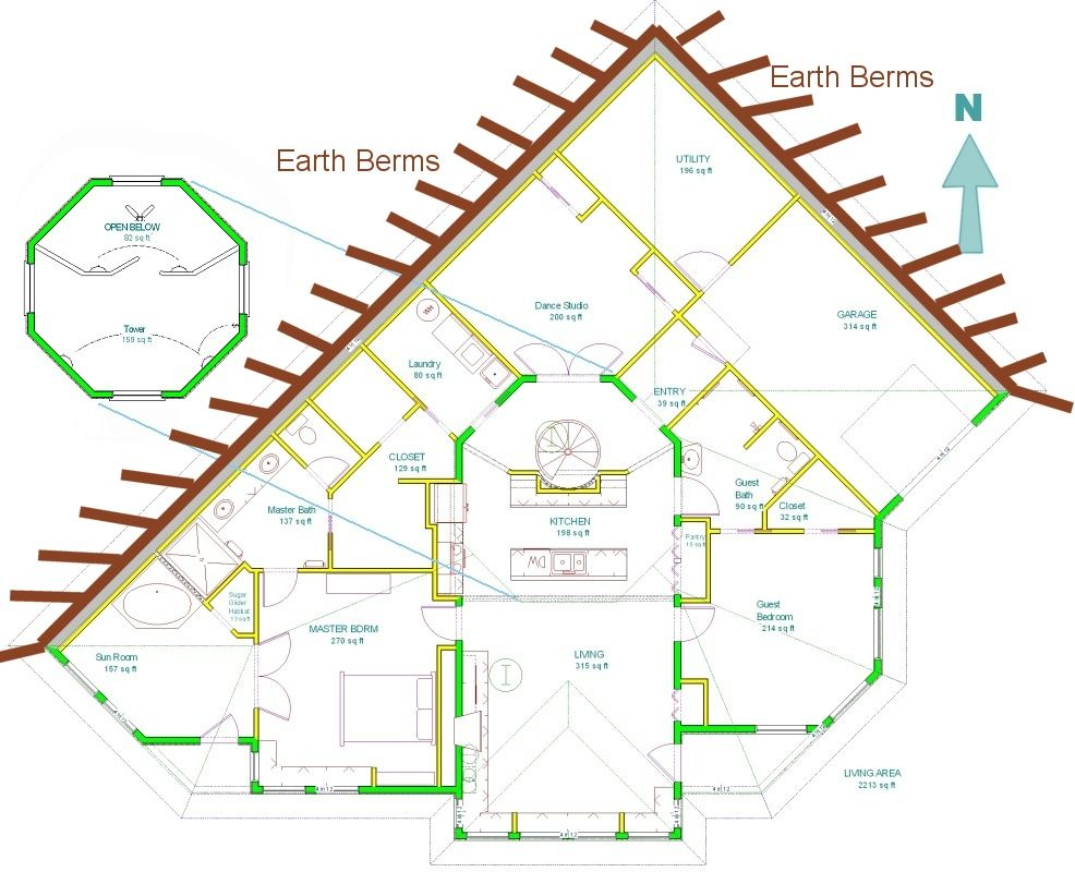 Earth Sheltered Home Design The Berm Design Allows Natural