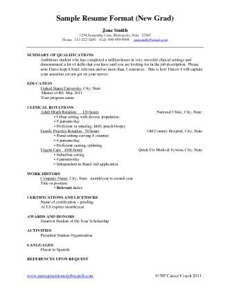 Template Sample Resume For New Grad Nurse Nursing Examples College