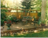 backyard privacy wall with deck attached | Landscaping ...