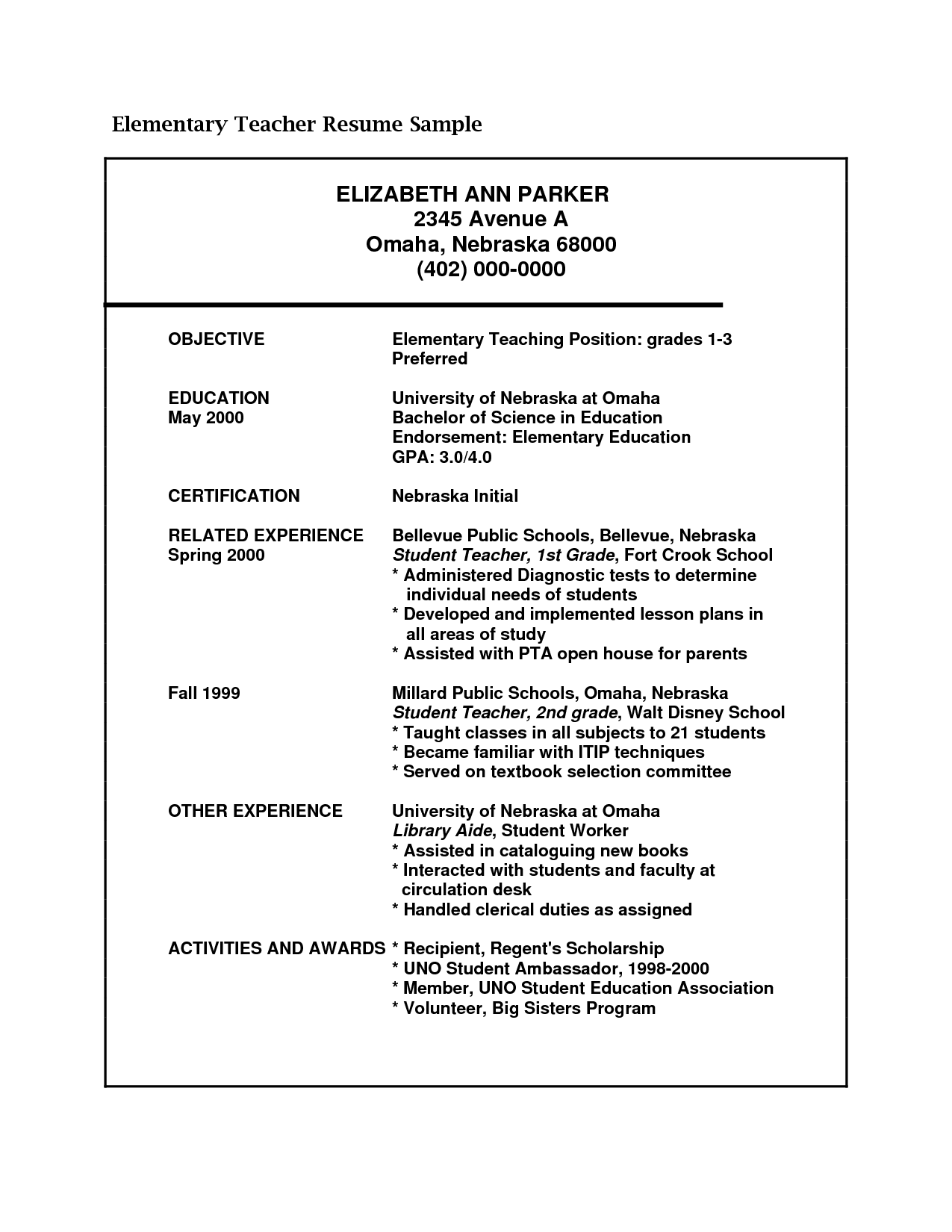 examples of elementary teacher resumes - Good Teacher Resume Examples