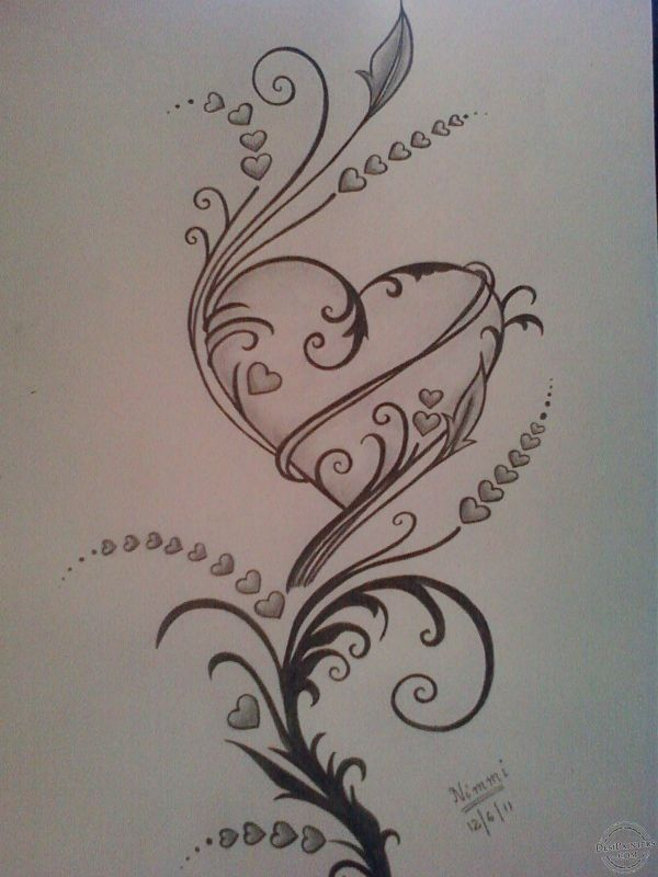 Pencil Sketches Hearts Love Of Drawing Sketch