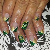 Gel nails green bay packers nail art | nail art ...