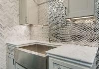Reflective, metallic kitchen backsplash tile - Stainless ...