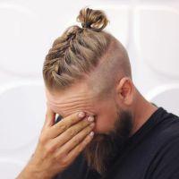men long hairstyles with beards,men braided bun with beard ...