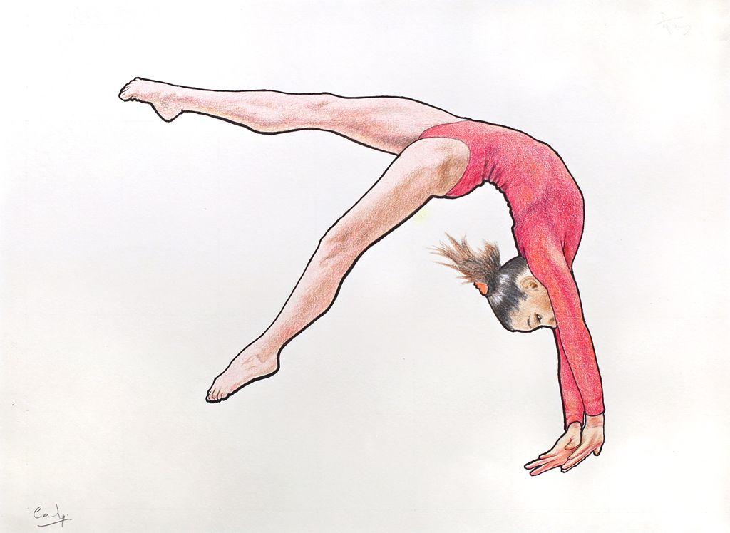 how to draw a gymnastics girl step by step