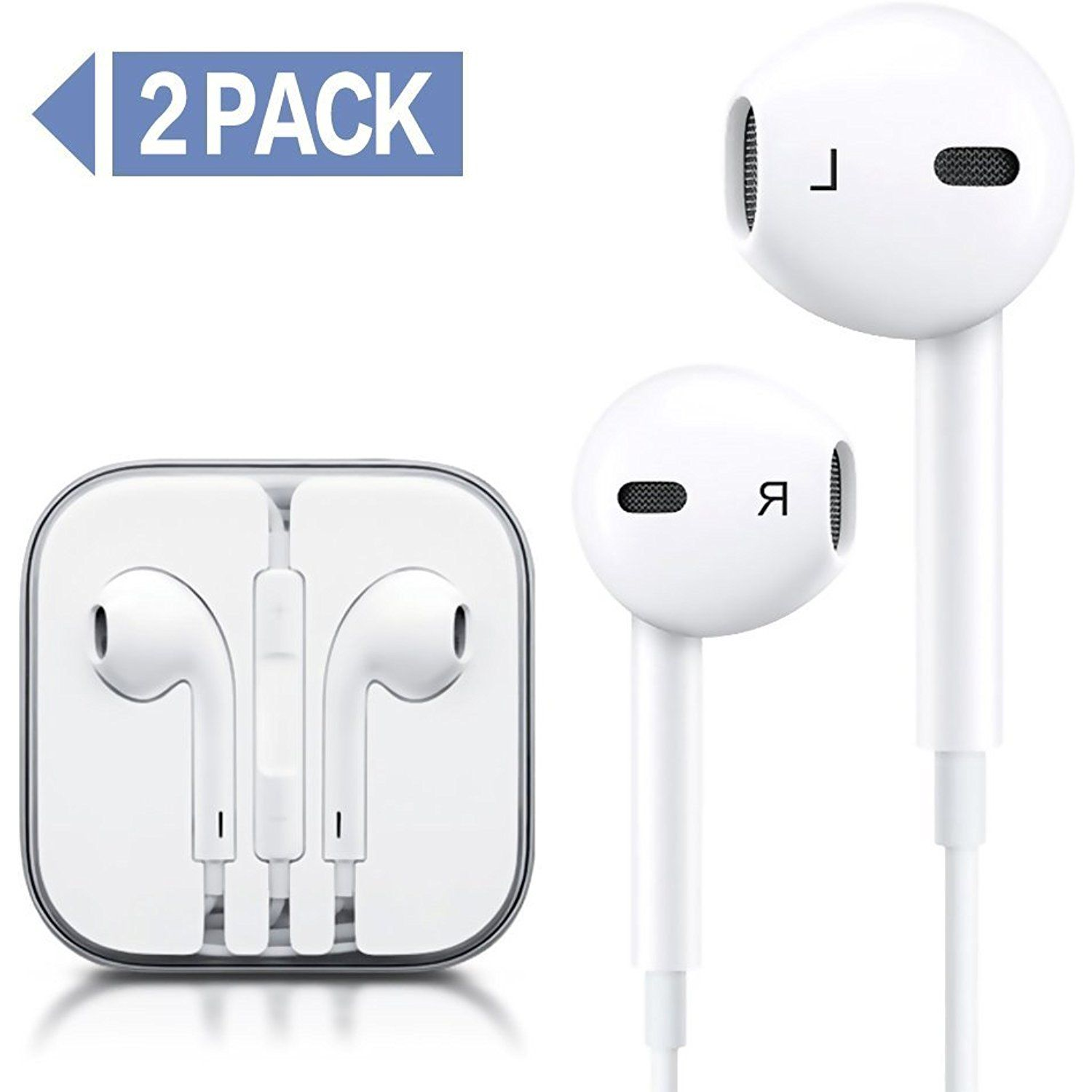 hight resolution of pack wire headphones earbuds with mic earphones and remote control for apple iphone ipod ipad samsung galaxy white white continue to the product at