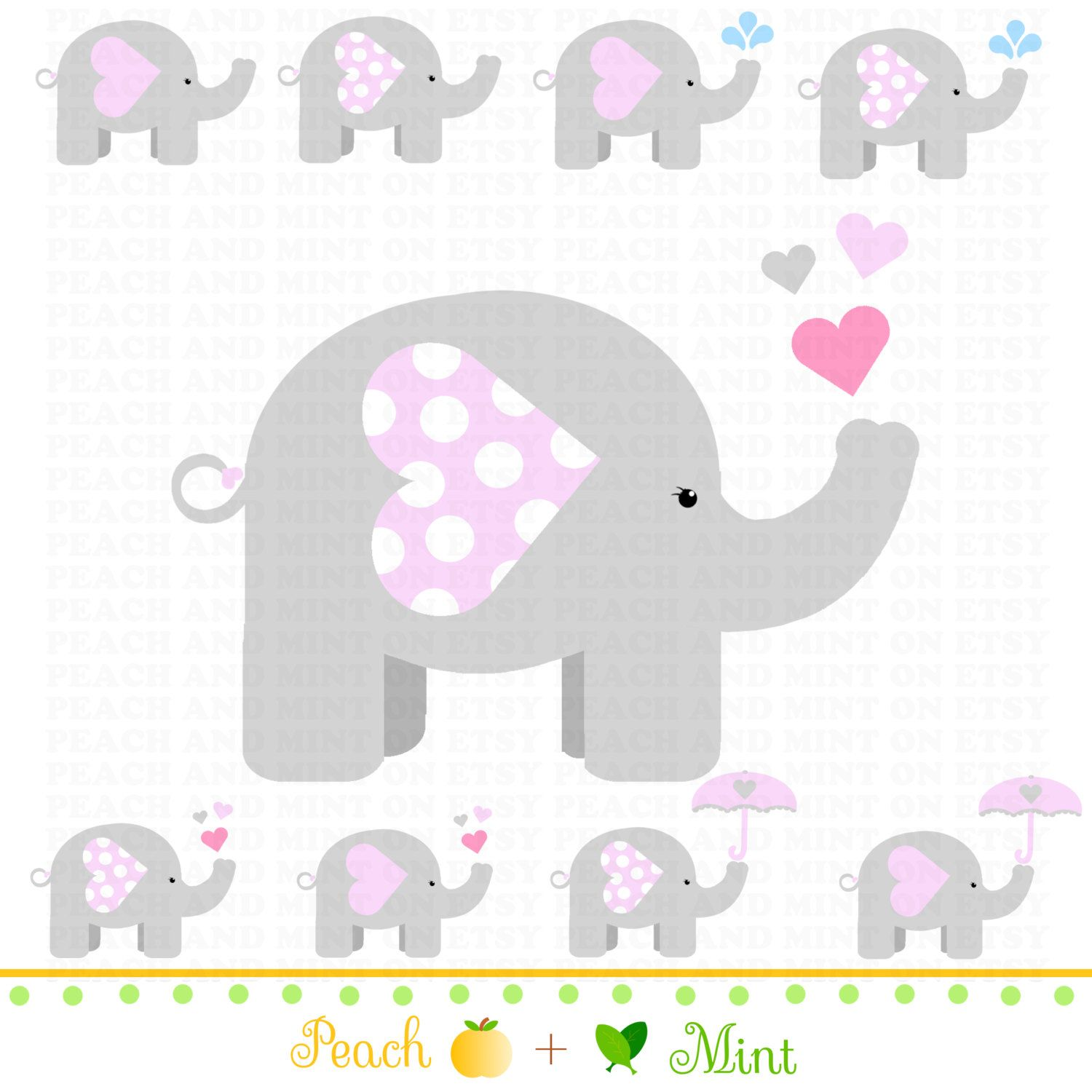Free Printable Elephants For Corsage In Baby Shower