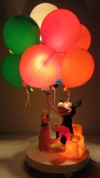 Vintage Walt Disney Mickey Mouse Pluto Lamp Balloon Night ...