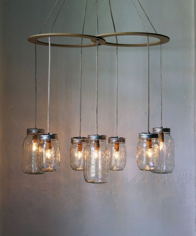 Mason Jar Canopy Chandelier Upcyled Hanging Swag Lighting Fixture Bootsngus