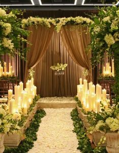 dramatic indoor formal garden wedding with sheer brown flowing draping lush florals and tall also best images about gazebos on pinterest vineyard rh