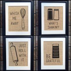 Wall Decorations For Kitchen Bronze Lighting Choose Four Funny Burlap Print Decor
