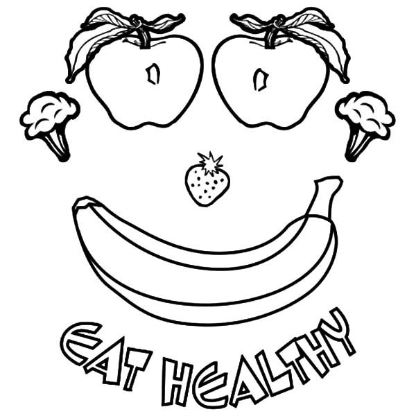 Eating Healthy Foods Coloring Pages for Kids: Eating