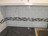 (22) light grey subway, white grout, with decorative line ...