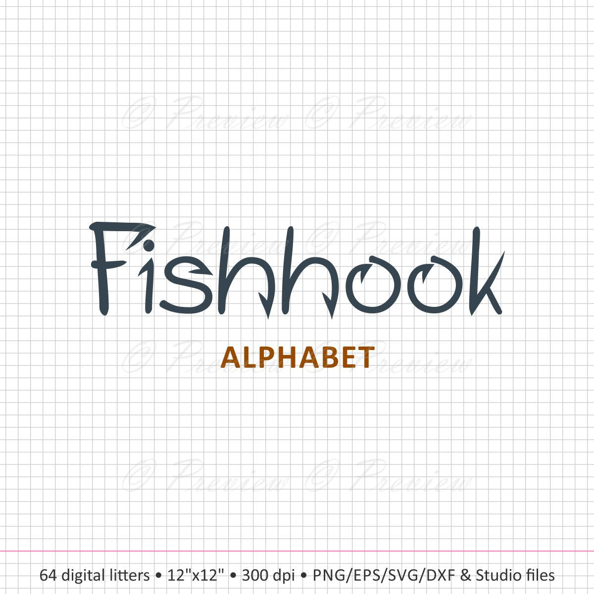 Buy 2 Get 1 Free Digital Clipart Fishhook Alphabet