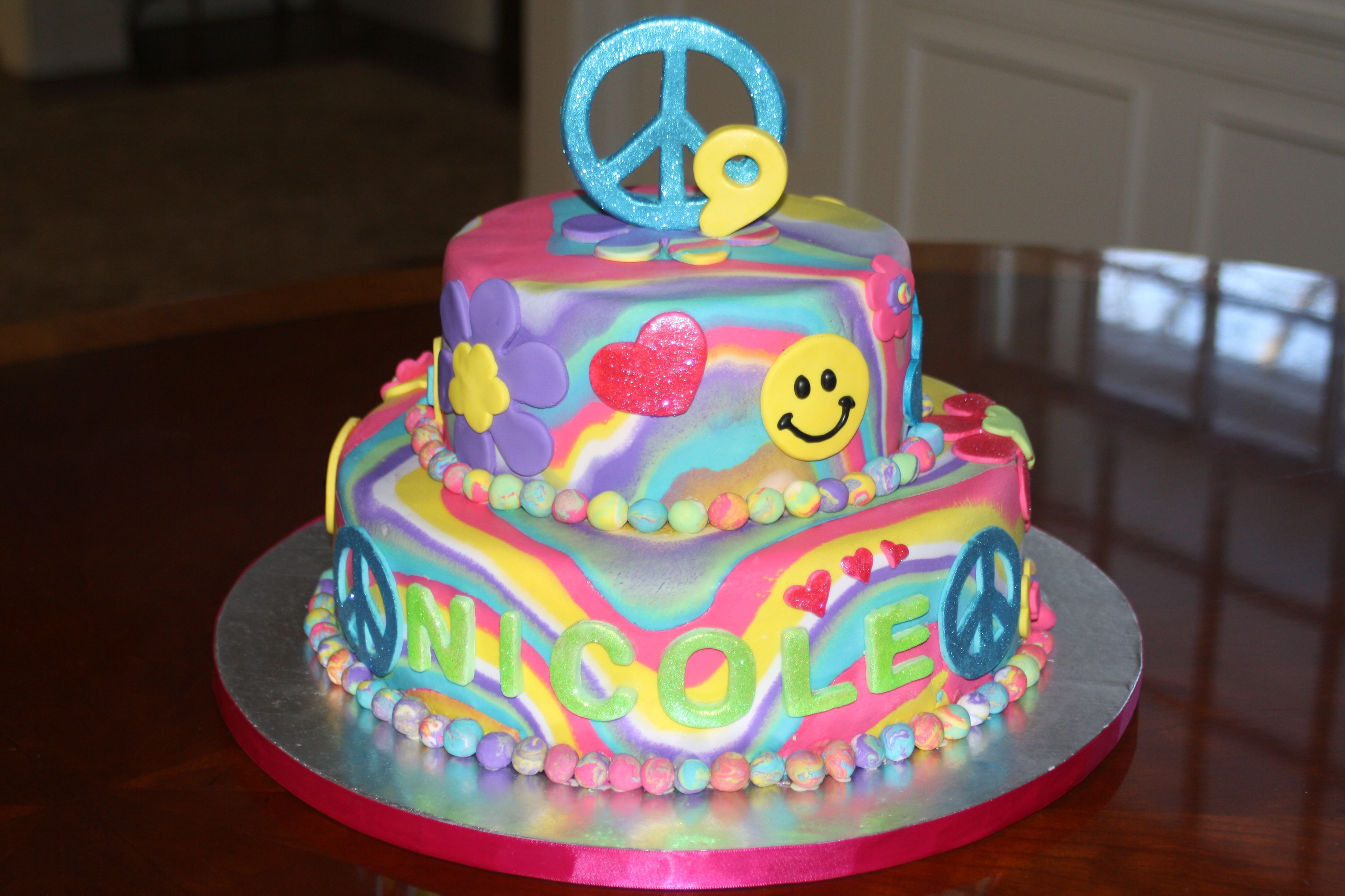 Peace Love And Smiley Face Tie Dye Cake