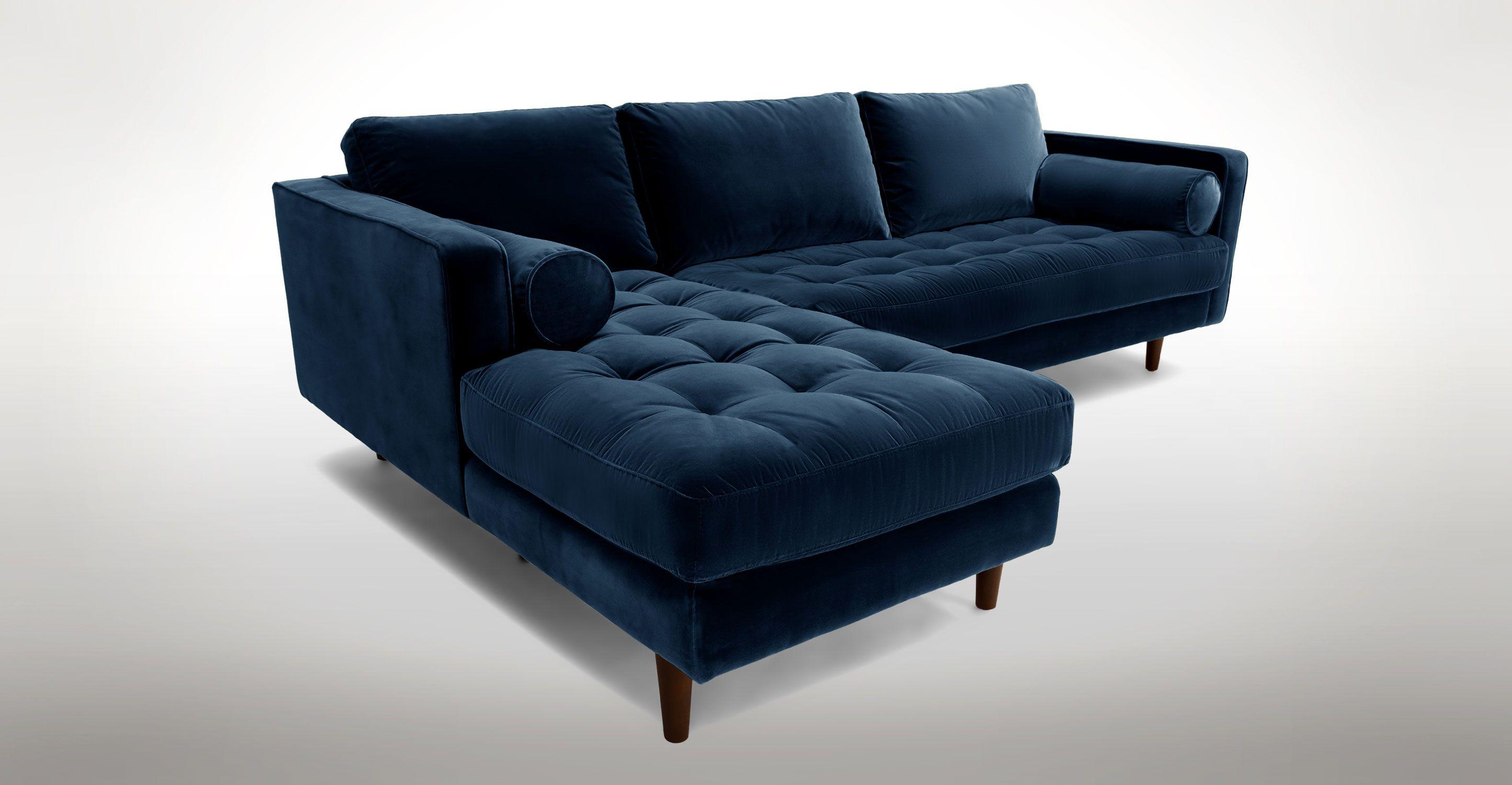 sofasandmore clearance sofa furniture dark blue velvet left sectional tufted article sven