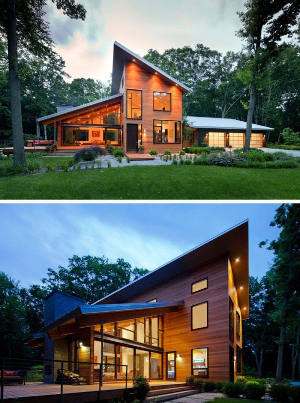 Examples Of Modern Houses With Sloped Roof Greenery