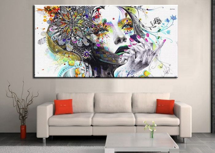 Unframed modern abstract wall art painting girl with flowers print on canvas for living room also
