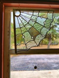 Spider Web Window Corner Stained Glass Decoration