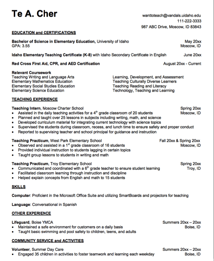 Teaching Practicum Resume Sample Exampleresumecv