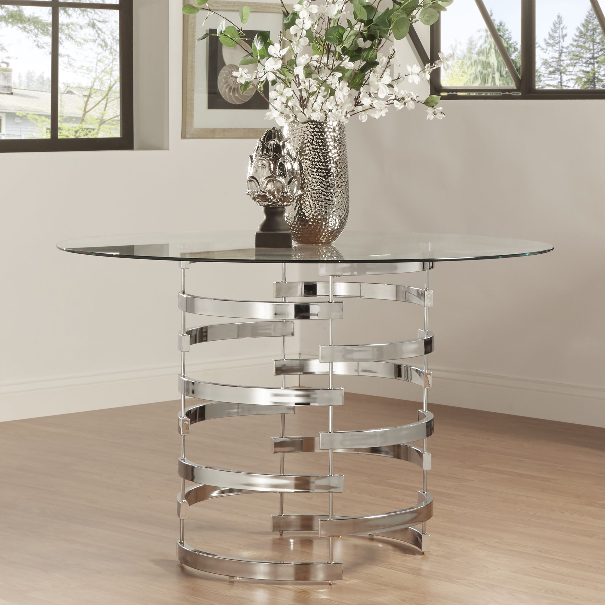 round glass kitchen tables retro design nova top vortex iron base dining table by