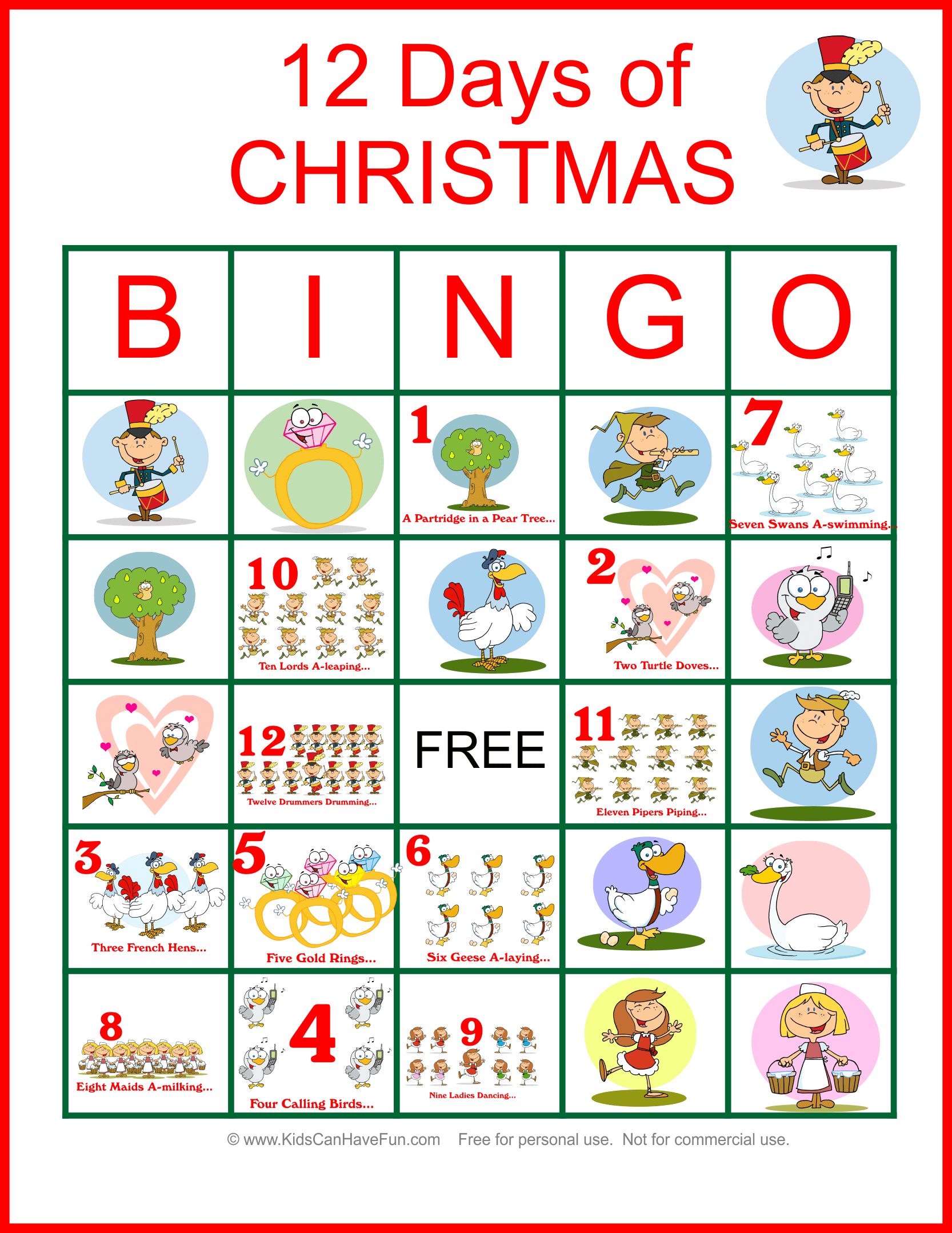 Twelve Days Of Christmas Bingo For The Whole Family Dscanhavefun Twelve Days