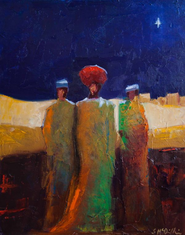 """"""" Shelby Mcquilkin. Abstract Figurative Oil Painting Of """"wise Men"""" Christmas"""