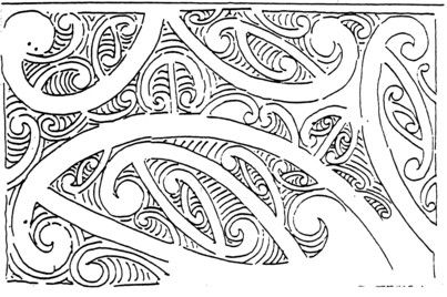Whakairo design (no details) ink sketch (part of letter
